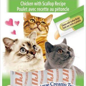 צ'ורו אינאבה חטיף נוזלי לחתול עוף וצדפות 56 גרם.Churu Inaba Liquid Treat For Cats Chicken # Scallop