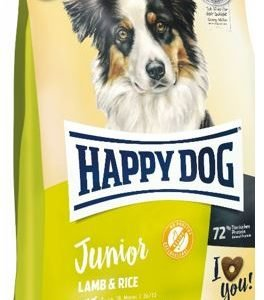 """אוכל לגורי כלבים הפי דוג מגיל 7 חודשים ג'וניור כבש ואורז 10 ק""""ג"""