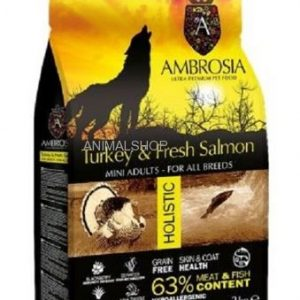 """אמברוסיה, מזון היפואלרגני נטול דגנים לכלב בוגר מגזע קטן, בשר הודו ודג סלמון, 2 ק""""ג – Ambrosia"""
