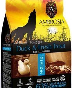 אמברוסיה, מזון היפואלרגני נטול דגנים לכלבים מכל הגזעים, ברווז ודג אלתית טרי – Ambrosia