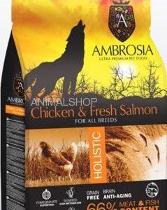 אמברוסיה, מזון היפואלרגני נטול דגנים, עוף וסלמון טרי,  – Ambrosia
