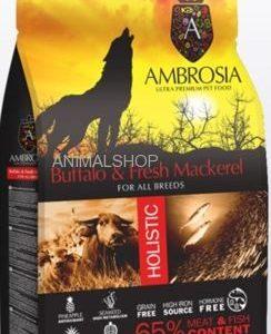 אמברוסיה, מזון היפואלרגני נטול דגנים לכלבים, באפלו ודג מקרל טרי – Ambrosia
