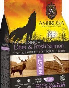 אמברוסיה, בשר צבי ודג סלמון, מתאים לכלבים רגישים מגזע קטן,   – Ambrosia