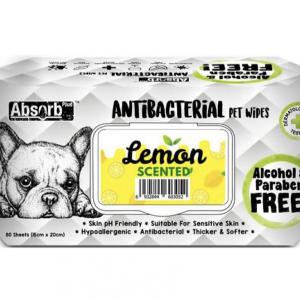 Pet Wipes 80 Sheets, Baby Powder מטליות אנטי-בקטריאלי בניחוח לימון 80 יחידות