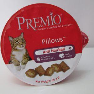 חטיף פרמיו לחתול כריות למניעת כדורי פרווה 60 גר' Premio Pillows Anti Hairball