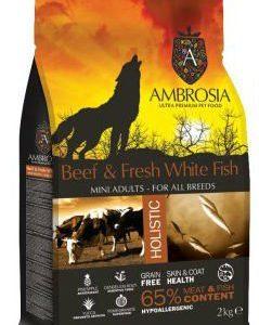 אמברוסיה מזון לכלב בוגר מיני בקר ודג לבן