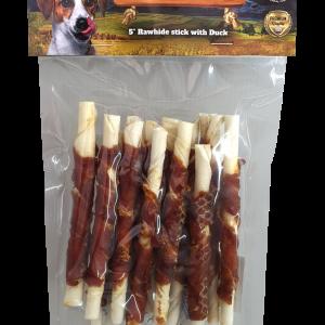 חטיף לכלב בציפוי בשר ברווז (12 מקלות לעיסה בחבילה ) משקל כולל 120 גרם