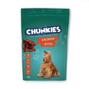 חטיף לכלב צ'אנקיס חתיכות סלמון 80 גרם