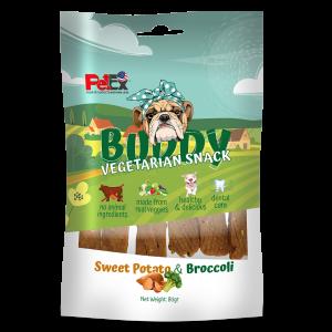 באדי סנאק חטיף צמחוני לכלב עם בטטה וברוקולי במשקל של 80 גרם