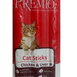 פרמיו חטיף מקלות לחתול עוף וכבד 15 גרם.#PREMIO Cat Sticks Chicken & Liver